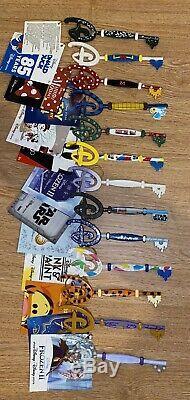 13 Disney Store Keys Tigger, Cinderella, Minnie, Aladdin, Star Wars, D23 Etc