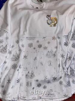 2020 Disney World Christmas White Cinderella Castle Snowflake Spirit Jersey NEW