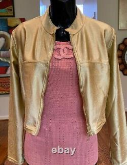 $4500 CHANEL Kylie Style VINTAGE Logo Jacket 36 38 40 4 6 8 Coat Metallic Gold M