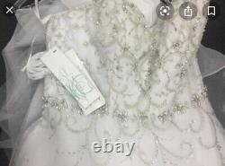 Alfred Angelo Disney's Cinderella Wedding Dress size 12 white/silver style 262