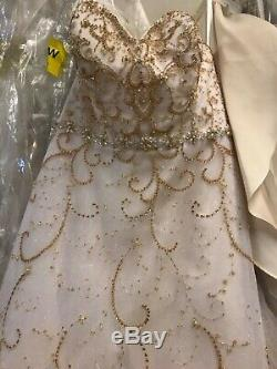 Alfred Angelo Disney's Cinderella wedding dress gown style 262 ivory/gold sz 16w