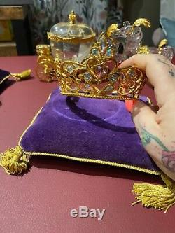(Disney) Cinderella Franklin Mint Crystal Coach Carriage, Crown 8 Pcs NEW PHOTOS