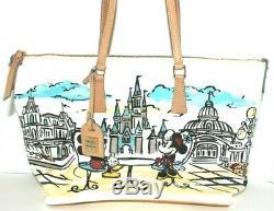 Disney Dooney & Bourke Mickey Minnie Cinderella Castle D23 Tote Shopper Bag