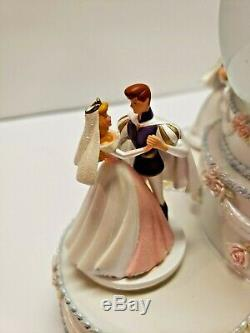 Disney Parks Princess Wedding Cake Snow Globe Cinderella Belle Ariel Aurora