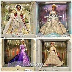 Disney Saks Fifth Ave Dolls Limited Edition Snow White Cinderella Elsa Anna NIB