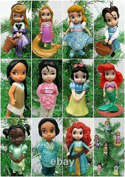Disney Toddler Baby Princess Set of 11 Christmas Tree Ornaments Merida, Arial