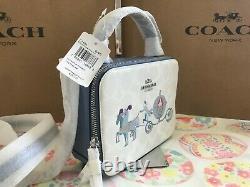 Disney X Coach Box Crossbody In Signature Canvas With Cinderella C1426 SV/Chalk