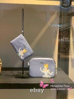 Disney X Coach Corner Zip Wristlet wallet With Cinderella/ Belle/ Tiana