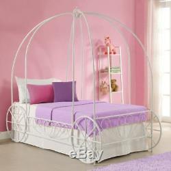 Girls Twin Bed Frame Canopy Carriage Metal Cinderella Princess Disney White Kid