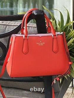 Kate Spade Tippy Small Triple Compartment Satchel Crossbody Bag Orange Leather