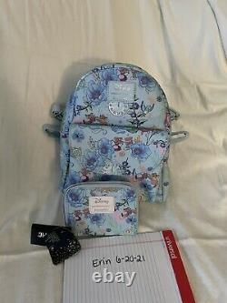 Loungefly Disney Cinderella Jaq Gus Floral Blue Mini Backpack W Matching Wallet