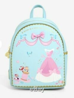 Loungefly Disney Cinderella Mini Backpack Bag Sewing Jaq Gus Blue NEW