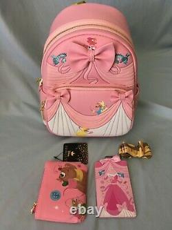 Loungefly Disney Cinderella Pink Dress Backpack Lanyard Gus Gus Coin Purse NWT