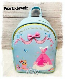 Loungefly Disney Princess Cinderella Backpack Pearl Crossbody Pink Dress Wallet