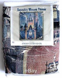 NEW Disney Parks Cinderella Castle & Fireworks Tapestry Woven Throw Blanket