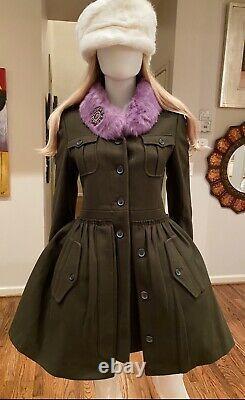 NWT $4,100 PRADA Miu Miu Real Fur Collar COAT 36 38 40 2 4 6 Jacket GIFT BAG S M