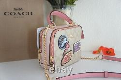 NWT Coach C1434 Disney X Coach Box Crossbody In Signature Canvas With Patches