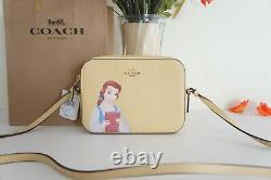 NWT Coach C3404 Disney X Coach Mini Camera Bag With Belle Vanilla Cream Multi