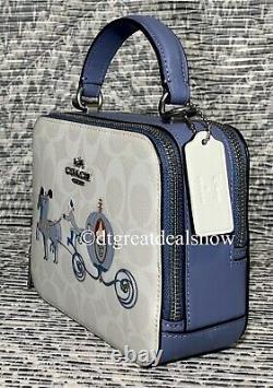 NWT Coach X Disney Box Crossbody In Signature Canvas With Cinderella C1426