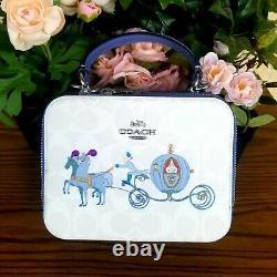 NWT Disney X Coach C1426 Box Crossbody In Signature Canvas With Cinderella