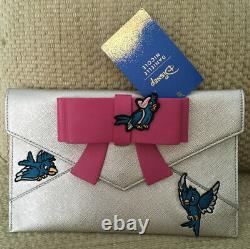 Nwt Danielle Nicole Designer Disney Cinderella Bow Clutch Silver Birds Wedding
