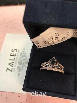Zales Enchanted DISNEY Cinderella London Blue Topaz 1/10 CT. Diamond Ring SS
